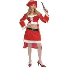 Kostým Pirátka červený