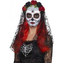 Maska Lebka se závojem Day of the dead pro dospělé