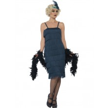 Kostým Flapper dlouhé, tmavomodré