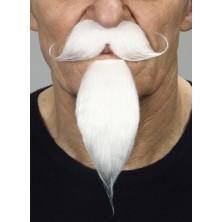 Zakroucený knír a dlouhá bradka bílý