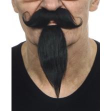 Zakroucený knír a dlouhá bradka černý