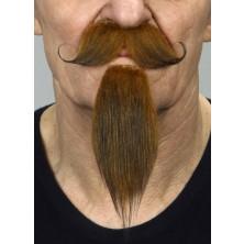 Zakroucený knír a dlouhá bradka rezavý