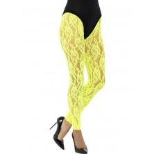 Legíny krajkové, žluté neonové