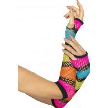 Síťované rukavice pruhované bez prstů