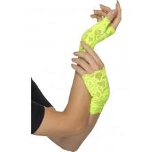 Krajkové rukavice zelené bez prstů