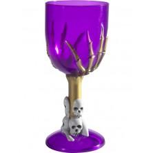 Číše na víno Lebky fialová