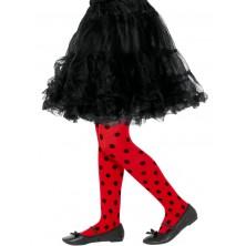 Dětské punčocháče červené s černými puntíky