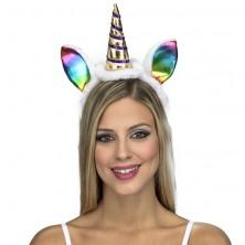 Dámská čelenka s ocasem Jednorožec, duhové uši