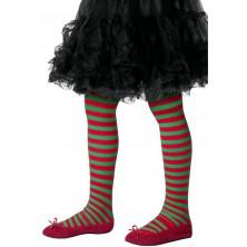 Dětské punčocháče pruhované, zeleno červené