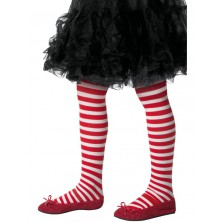 Dětské punčocháče pruhované, bílo červené