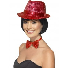 Dámský flitrový klobouk červený
