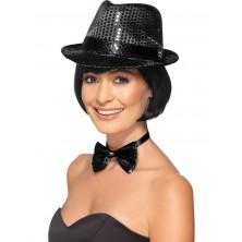 Flitrový klobouk černý pro dospělé