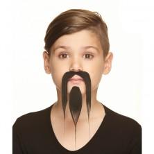 Dětská bradka s knírem černá