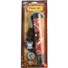 Pirátská sada hák, dalekohled, kompas a páska