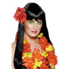 Havajské kvítko do vlasů červené
