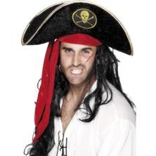 Klobouk Pirát černý samet