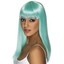 Paruka Glamourama neonově modrá