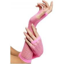 Síťované rukavice neon růžové bez prstů