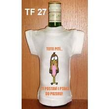 Tričko na flašku Toto pití ti postaví i ptáka
